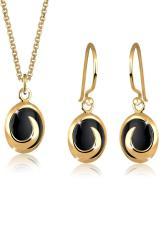 Toko Elli Germany 925 Sterling Silver Set Kalung Anting Lapis Emas 24K Elegant Onyx Black Hitam Terlengkap Di Bali