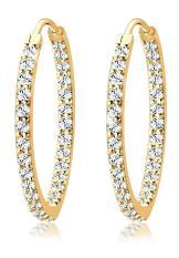 Elli Germany 925 Sterling Silver Anting Creol Glamor Swarovski® Lapis Emas Putih