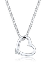 Elli Germany 925 Sterling Silver Kalung Heart Diamond Silver Elli Germany Diskon 40