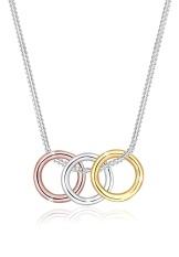 Harga Elli Germany 925 Sterling Silver Kalung Lapis Rosegold Dan Gold Trio Circle Silver Dan Spesifikasinya