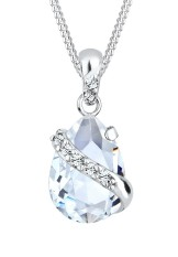 Elli Germany 925 Sterling Silver Kalung Wrap Swarovski® Crystals Putih