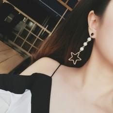 Nikmati Perasaan Jepang dan Korea Selatan Bintang Hollow Star Temperamen Overrated Long Buatan Diamond Earrings Earrings Wanita Pearl Earrings-Intl