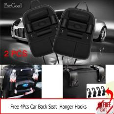 Review Toko Esogoal 2 Psc Mobil Kursi Belakang Organizer Pu Kulit Auto Back Car Seat Organizer Holder Saku Penyimpanan Kick Mats Dengan 4 Hooks Hitam