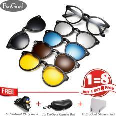 Esogoal Magnetic Sunglasses Clip On Glasses Unisex Polarized Lenses Retro Frame With Set Of 5 Lenses Original