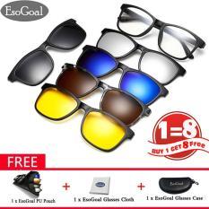 Esogoal Magnetic Sunglasses Klip Pada Kacamata Unisex Polarized Lensa Retro Bingkai Dengan Set 5 Lensa Diskon Akhir Tahun