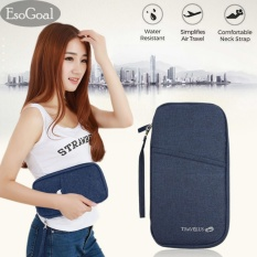 Beli Esogoal Passport Holder Travel Document Holder With Zipper Strap Aman Ringan Multi Tujuan Clutch Dark Blue Kredit