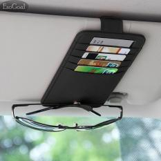 EsoGoal PU Kulit Car Sun Visor Organizer Penyimpanan dengan Tiket Kartu Sunglass Penyimpanan Holder Bag Pouch Pemegang Kartu Kredit Kartu untuk Truk Kendaraan Otomatis SUV (Hitam)