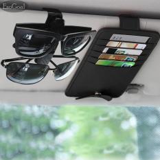 EsoGoal PU Kulit Car Sun Visor Organizer Tiket Kartu Kredit Sunglass Penyimpanan Pemegang With Mobil Pemegang Kacamata Clipper (HITAM)