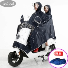 Harga Esogoal Rain Poncho Two Person Lengthen Reflective Raincoat Waterproof Motorcycle Scooter Rain Hoodie Coat With Mirror Slot Black Intl Termahal