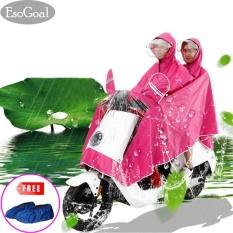 Toko Esogoal Rain Poncho Two Person Lengthen Reflective Raincoat Waterproof Motorcycle Scooter Rain Hoodie Coat With Mirror Slot Hotpink Intl Murah Tiongkok