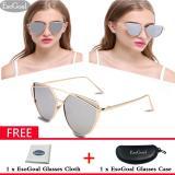 Dapatkan Segera Esogoal Kucing Mata Sunglasses Mirrored Flat Lensa Bingkai Logam Women Eyewear Dengan Case Emas Dan Sliver