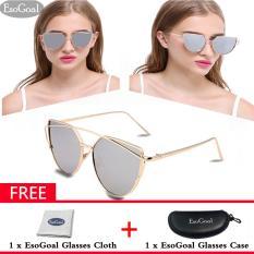 Harga Esogoal Kucing Mata Sunglasses Mirrored Flat Lensa Bingkai Logam Women Eyewear Dengan Case Emas Dan Sliver Online
