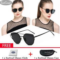 Toko Esogoal Kucing Mata Sunglasses Mirrored Flat Lensa Bingkai Logam Women Eyewear With Case Hitam Abu Abu Murah Tiongkok