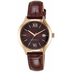 ESPRIT ES107492002L RG - Bonnie - Jam Tangan Wanita - Bahan Tali Leather - Coklat - Case Rose Gold - Dial Coklat