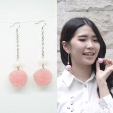 Esternal.co Amber Pink Muda Anting Drop Pom-pom