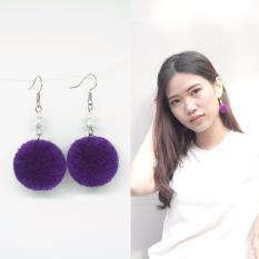 Esternal.co Elona Ungu Anting Drop Pom-pom Fashion High Quality