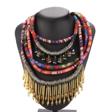 Jual Etnis Tali Multilayer Menenun Bohemian Necklace Multicolor Murah