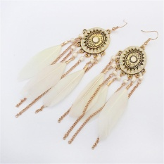Diskon Gaya Etnis Bohemian Bulu Panjang Tassel Fashion Wanita Dangle Hook Earrings Intl