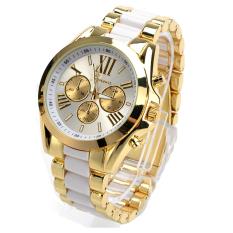 Jual Etop Pakaian Pria Quartz Full Steel Watch Wanita Jam Tangan Casual Dress Ladies Wrist Watch Gold Dial Alloy Watch Putih Murah