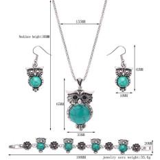Eropa dan Amerika Trendy Metal Owl Turquoise/Ruby Tiga Potong Set Kalung Earrings Gelang Perhiasan untuk Pernikahan Pesta Warna: Hijau Keterangan: 61163144-Internasional