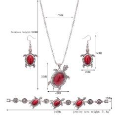 Eropa dan Amerika Trendy Metal Turtle Turquoise/Ruby Tiga Potong Kalung Earrings Gelang Perhiasan Set Warna: Merah Spesifikasi: 61163151