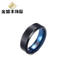 Harga Eropa Dan Amerika Serikat Populer Perhiasan 6Mm Inner Ring Plated Biru Luar Ring Plated Cincin Baja Tungsten Hitam Pria Ring Tcr 035 Intl Di Tiongkok