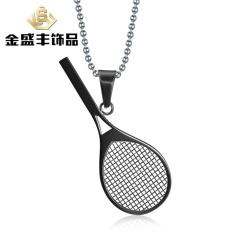 Eropa dan Amerika Gaya Perhiasan Baru Daftar Tenis Liontin Raket 3 Baja Tahan Karat Berwarna Perhiasan Liontin PN-218 (Warna: Liontin Emas dengan Rantai) -Intl