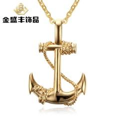 Eropa dan Amerika Laki-laki Anti Karat Anchor Liontin Pirates dari The Caribbean Anchor Liontin PN-461 (Warna: hitam Jangkar Tanpa Jaringan)-Internasional