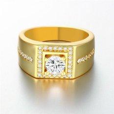 Gaya Retro Eropa Nada Emas Di Atas Kuningan dengan Zircon Band Ring untuk Anak Laki-laki dan Laki-laki (04001192-orang Tua)