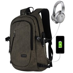 Everbuy Bisnis Tahan Air Poliester Laptop Ransel dengan USB Pengisian Port dan Mengunci Cocok Dibawah 17-Inci Laptop dan buku Catatan (Hitam) -Internasional