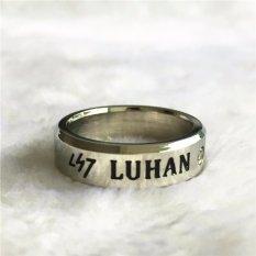 EXO LUHAN Reloaded I Album Rope Cincin Titanium Steel Leather Chain Ring dengan Lanyard Aksesoris Perhiasan untuk Music Women Pria Boy Gadis Kartun-Intl