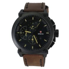 Beli Expedition E6612M Jam Tangan Pria Hitam Coklat Strap Kulit Coklat Expedition