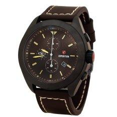 Toko Expedition E6689M Jam Tangan Pria Chronograph Dial Coklat Strap Kulit Coklat Lengkap