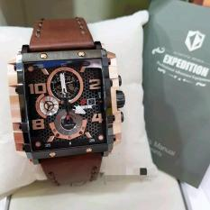 Expedition E6757M Original Jam Tangan Pria Stainless Leather