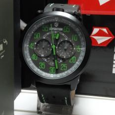 Expedition Jam Tangan Pria Expedition E6625M Black Dial Green Stainless Steel Leather Black Chronograph Diskon Akhir Tahun
