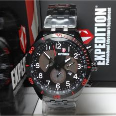 Expedition Jam Tangan Pria Expedition E6720M Chronograph Black Stainless Steel List Red