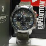 Expedition Jam Tangan Unisex Expedition E6672M Chronograph Silver Stainless Steel Strap Canvas Green Original