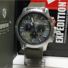 Harga Expedition Jam Tangan Unisex Expedition E6672M Chronograph Silver Stainless Steel Strap Canvas Green Branded