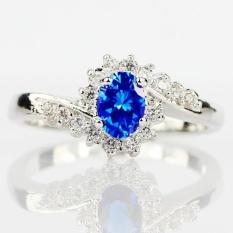 Indah 925 Sterling Silver Natural Sapphire Batu Permata Birthstone Bride Putri Pernikahan Pertunangan Aneh Ring-Intl
