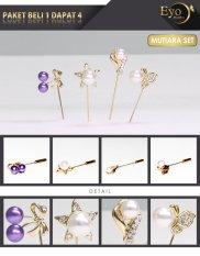 Eyo Jewelry Set Tuspin Wanita Hijab Paket Mutiara Set