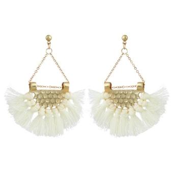 Bandingkan Toko Kipas Rumbai Wanita Bohemian Dibesar-Besarkan Fashion Perhiasan Telinga Anting Bulat-Intl