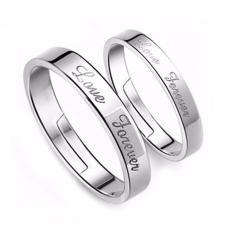 Fancyqube 1 Pasang Vintage Pasangan Pernikahan Selamanya Cinta Huruf Desain Adjustable Pembukaan Perak Berlapis Rings For Pria And Wanita (putih 14-16mm)