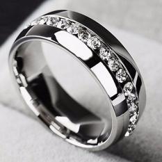 Fancyqube 1 Piece New Single Row Zircon CZ Cincin Stainless Baja Jari Cincin Wanita Fine Jewelry Grosir Klasik Perak- 10-Intl