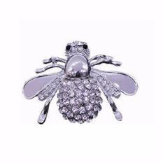 Fancyqube 1 PC Emas dan Perak Unik Bee Bentuk Menarik Bros Pin untuk Wanita Fine Jewelry Hadiah Grosir Silver- INTL