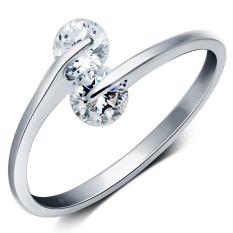 Fancyqube 925 Sterling Perak sekejap Double zirkon berlian imitasi tatahan pembukaan disesuaikan Perak cincin berlapis untuk wanita Perak