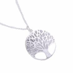Fancyqube Circular Hollow Out Wishing Tree Liontin Kalung Perhiasan Grosir Ke Pohon Kehidupan Silver-Intl