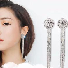 Fancyqube Klip Pada Sekrup Berlian Imitasi Panjang Jumbai Diamante Perhiasan Anting-anting Wanita-ต่างประเทศ