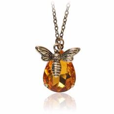 Fancyqube Crystal Lebah Madu Tergantung Kalung Liontin Birthstone untuk Wanita Pecinta Perhiasan Hadiah Kuning-Intl