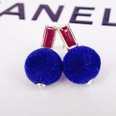 Fancyqube Fashion Anting Logam Kecil Velvet Ball Anting-Anting Emas Fur Ball Anting untuk Wanita dan Anak Perempuan Stud Earrings Teman Hadiah (biru) -Intl