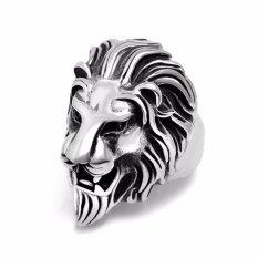 Fancyqube Fashion Tren Perhiasan Baja Titanium Perhiasan Alternatif Lion Kepala Cincin Hewan Burst Model Silver-8-Intl